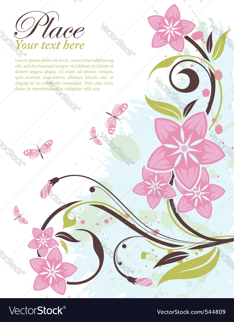 Grunge decorative floral frame vector | Price: 1 Credit (USD $1)