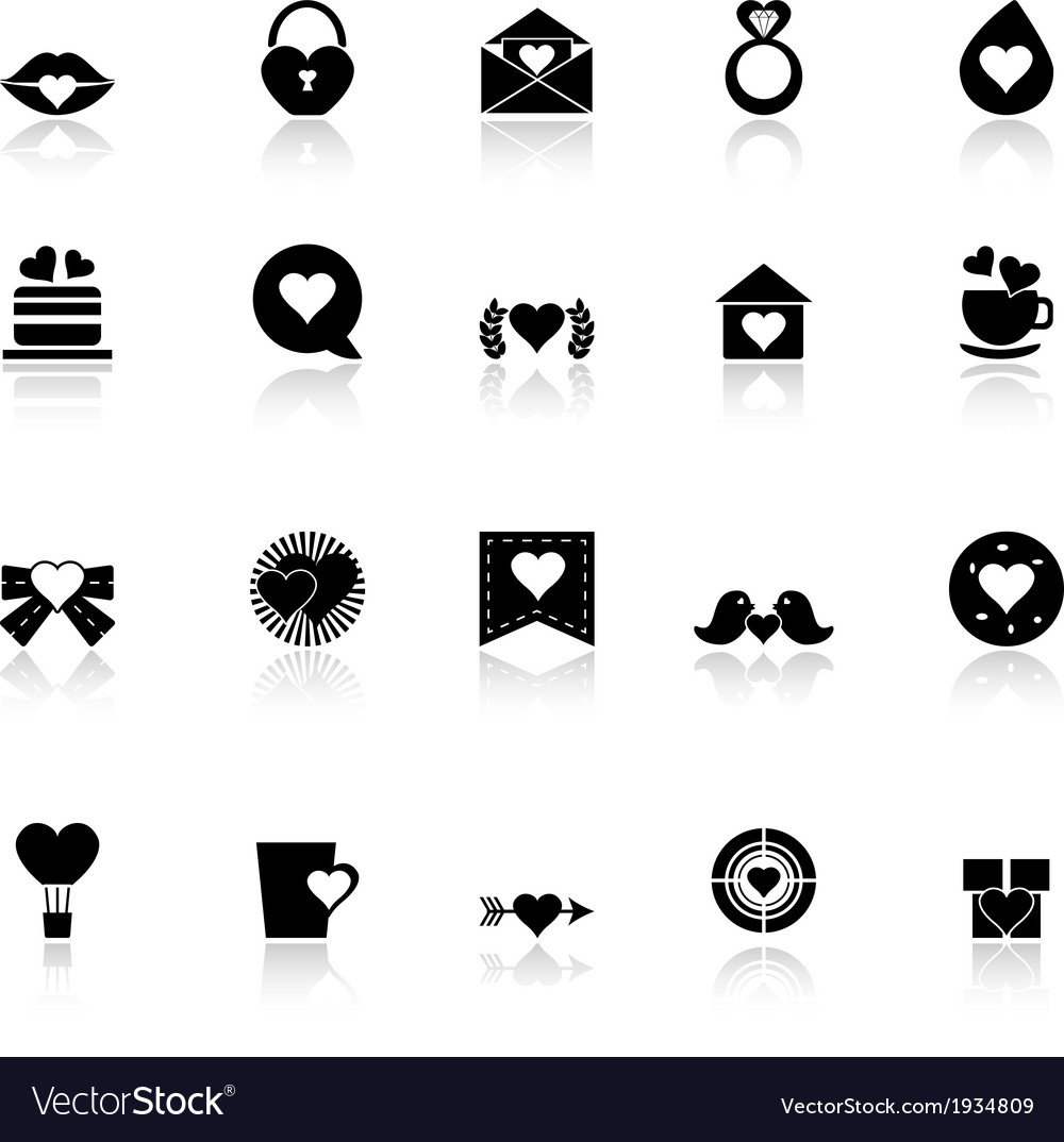 Heart element icons with reflect on white vector | Price: 1 Credit (USD $1)
