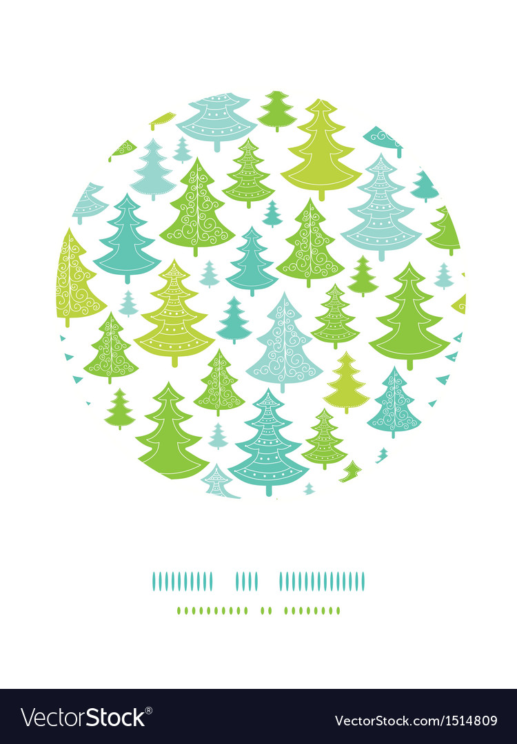 Holiday christmas trees circle decor pattern vector | Price: 1 Credit (USD $1)