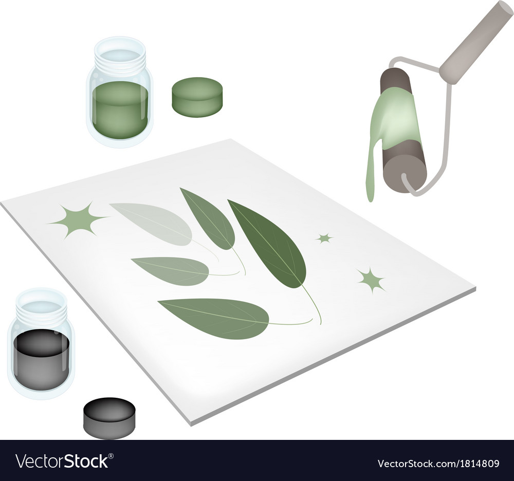 Paint roller screen printing on a tiles vector   Price: 1 Credit (USD $1)