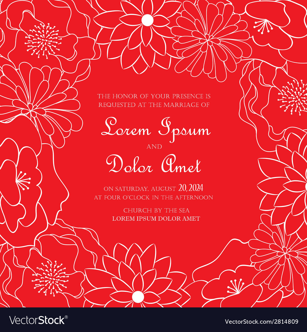 Red floral card vector | Price: 1 Credit (USD $1)