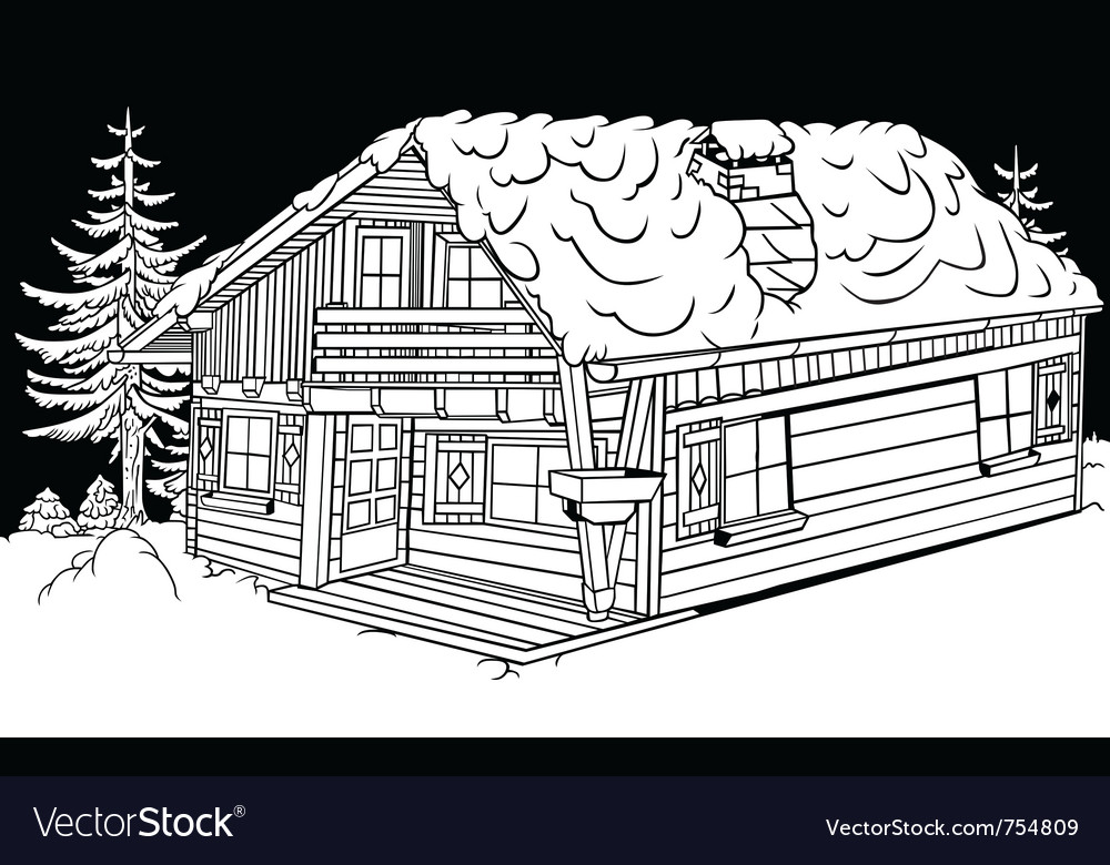 Snow cabin vector | Price: 1 Credit (USD $1)