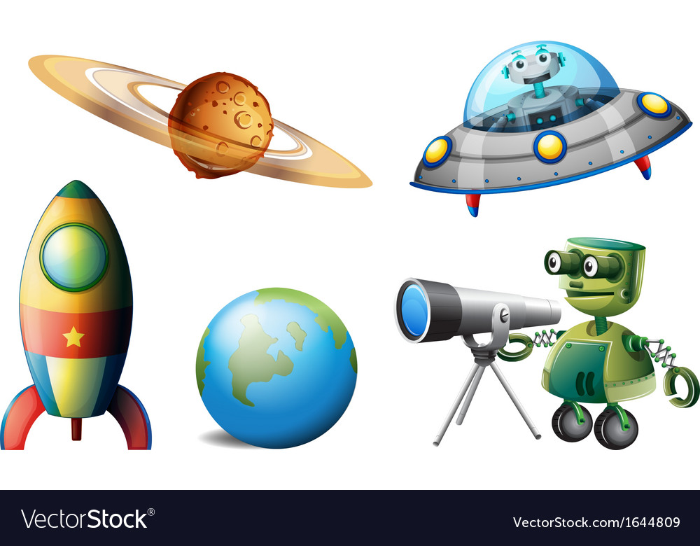 Spaceships and robots vector | Price: 3 Credit (USD $3)