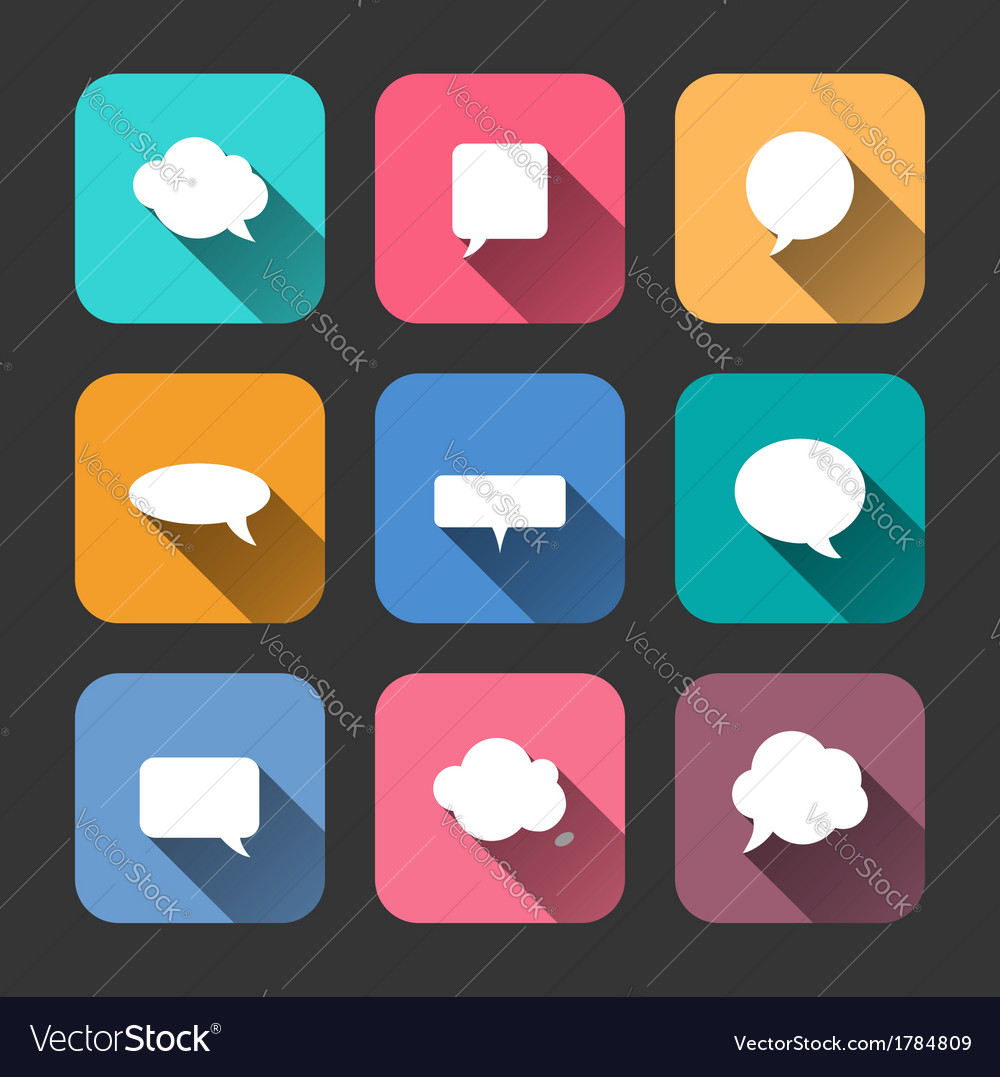 Speech bubbles icons set in flat style vector | Price: 1 Credit (USD $1)