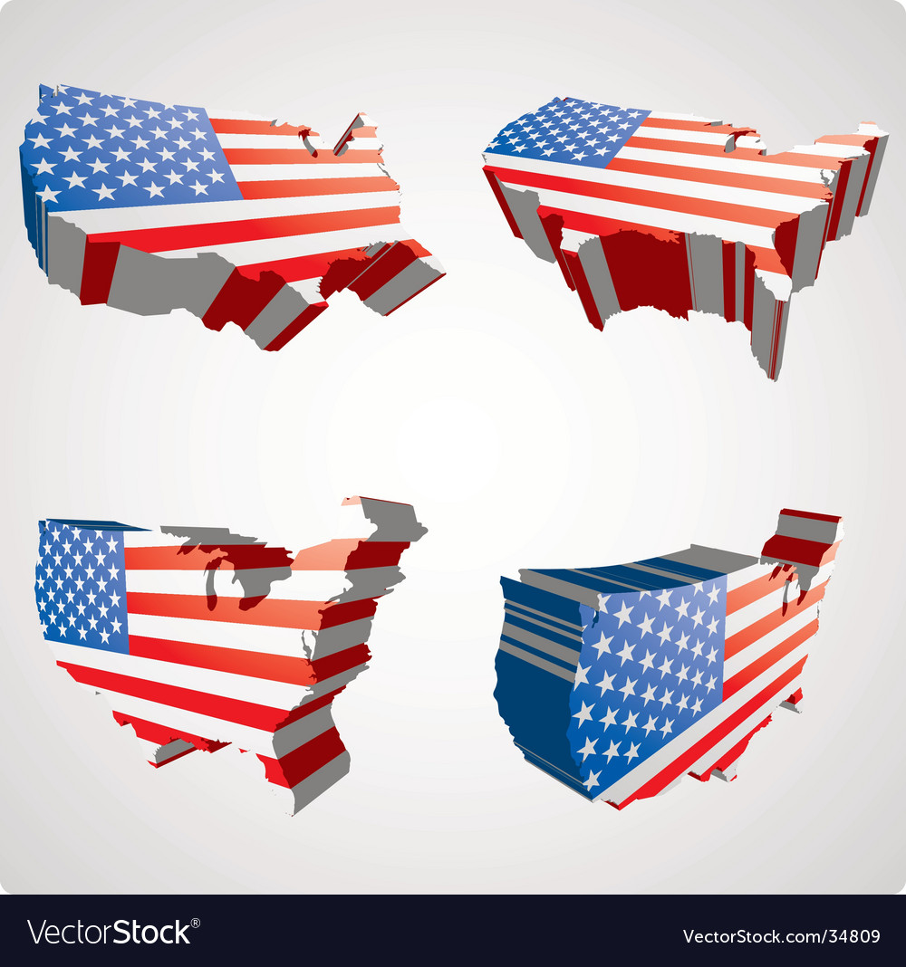 Usa 3d views vector | Price: 1 Credit (USD $1)