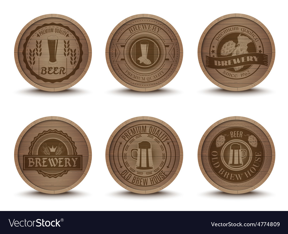 Wooden beer emblems mats icons set vector | Price: 3 Credit (USD $3)
