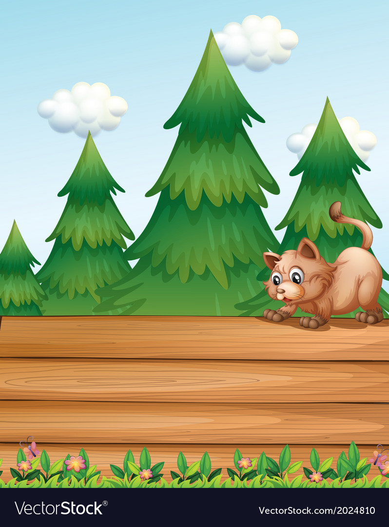 A cat above the empty wooden boards near the pine vector | Price: 3 Credit (USD $3)