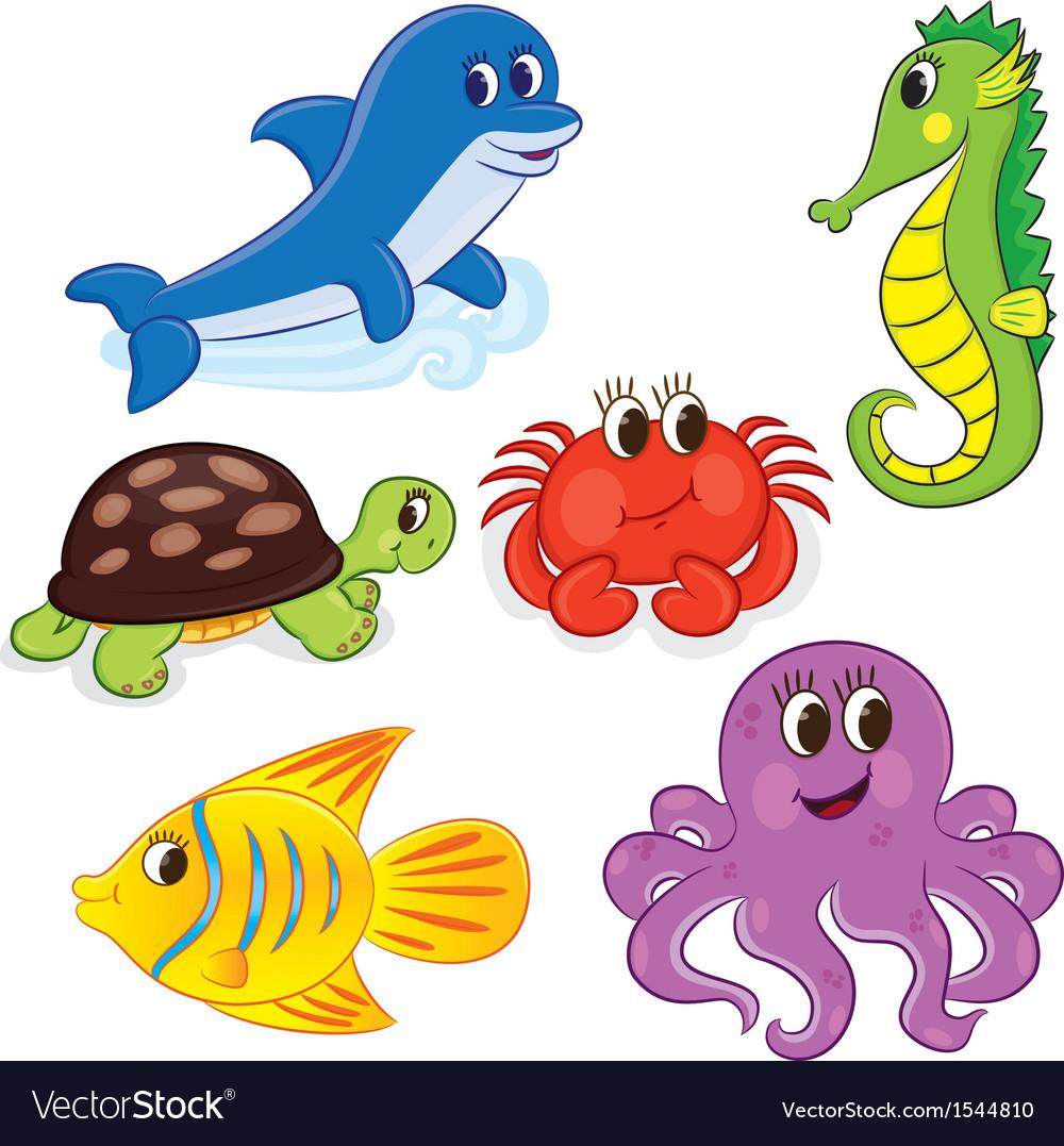 Cartoon sea animals6 color vector | Price: 3 Credit (USD $3)