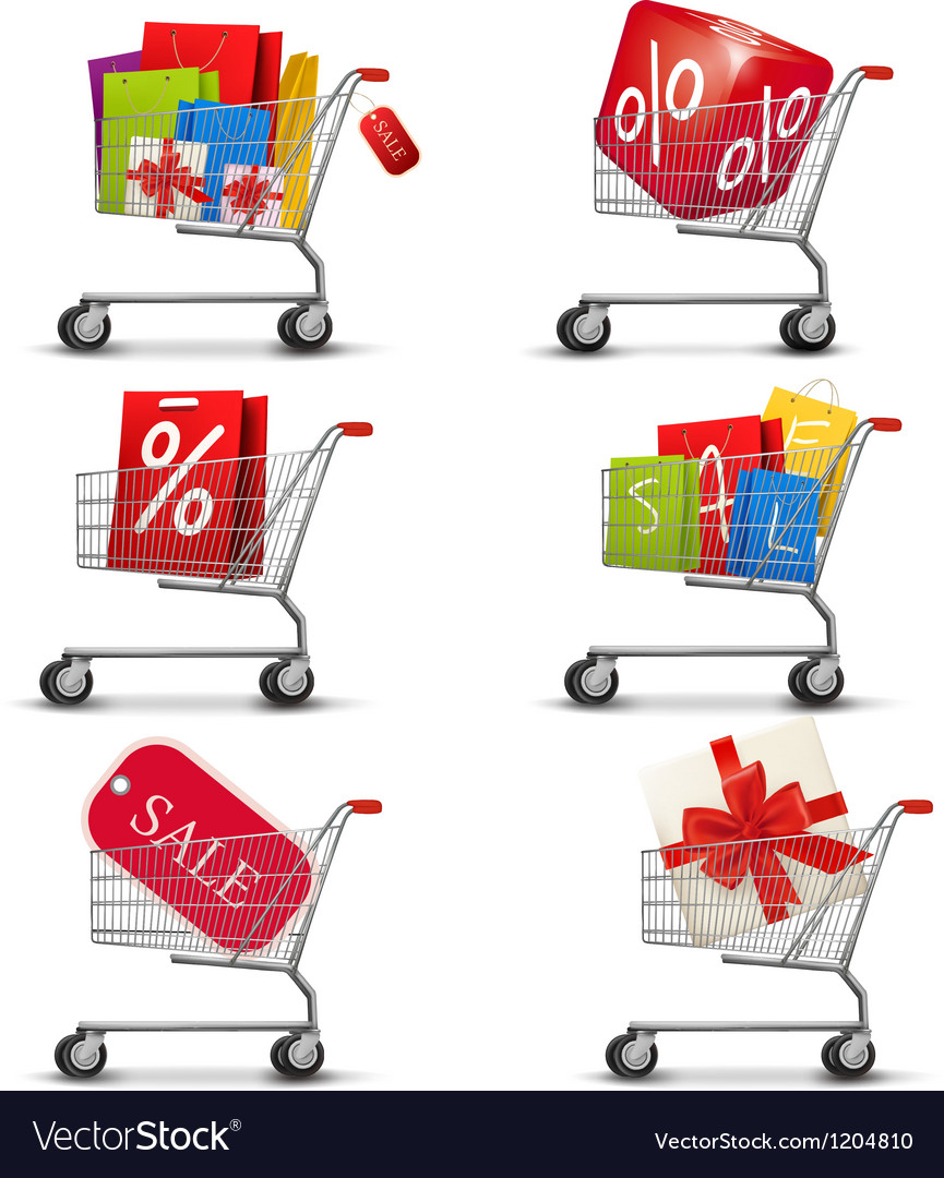 Collection of shopping carts full of shopping bags vector