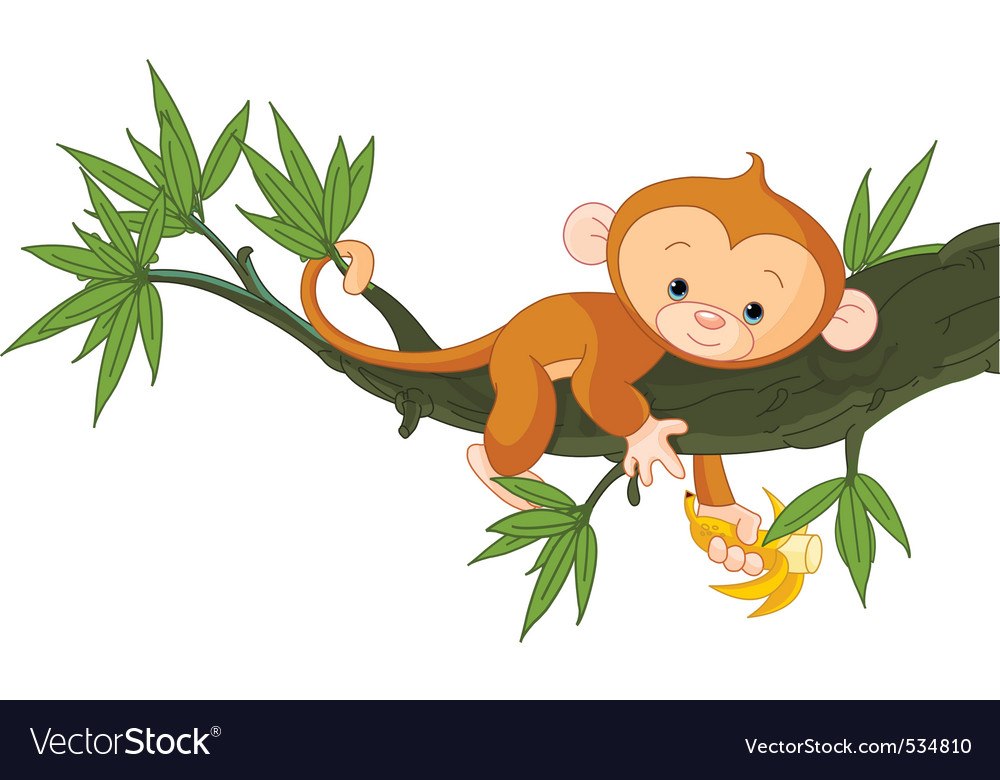 Cute baby monkey on a tree holding banana vector | Price: 1 Credit (USD $1)