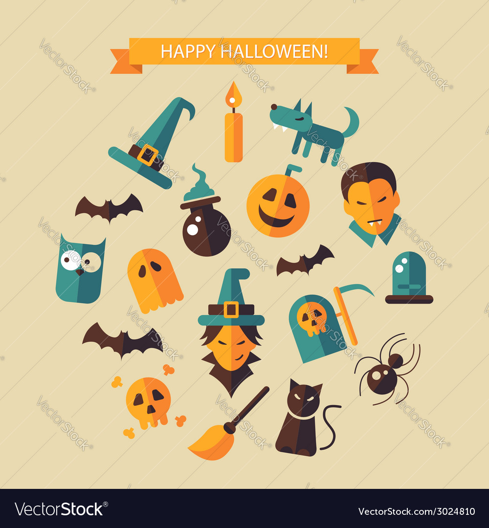 Flat design halloween composition vector | Price: 1 Credit (USD $1)