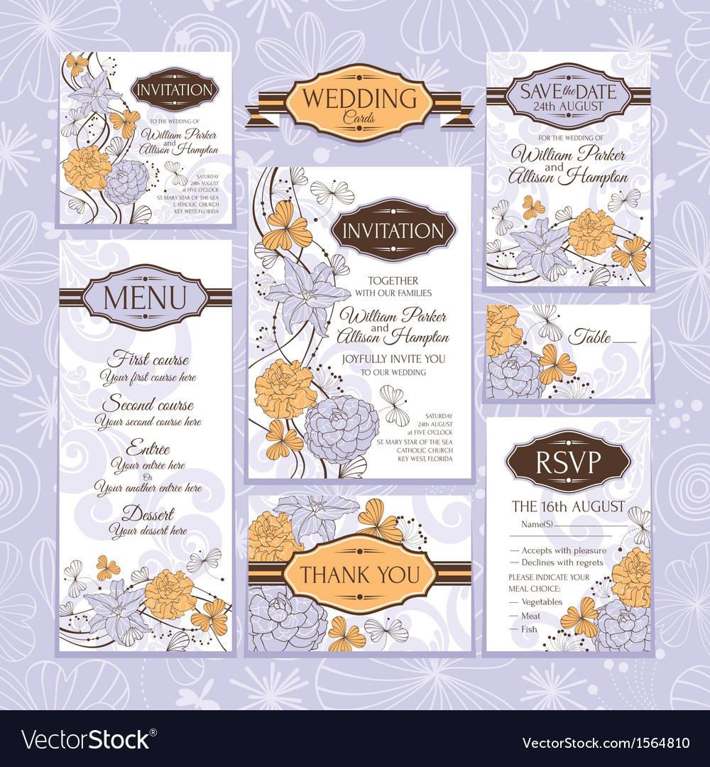 Floral wedding cards vector   Price: 1 Credit (USD $1)