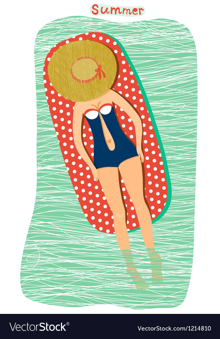 Girl sunbathing at the beach vector | Price: 1 Credit (USD $1)
