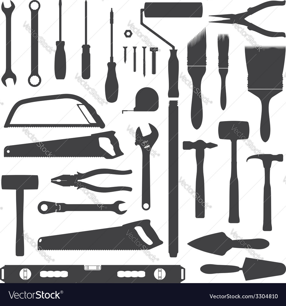 House remodel instruments silhouette set vector | Price: 1 Credit (USD $1)