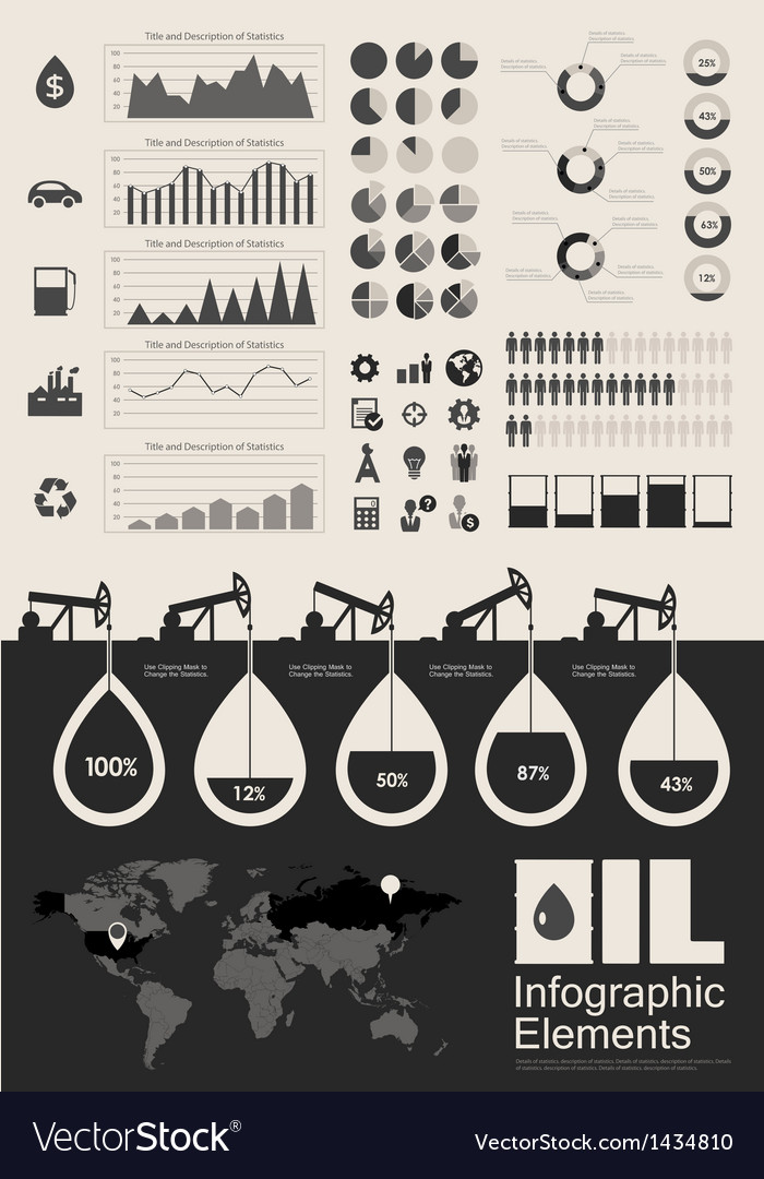 Oil industry infographic elements vector | Price: 3 Credit (USD $3)