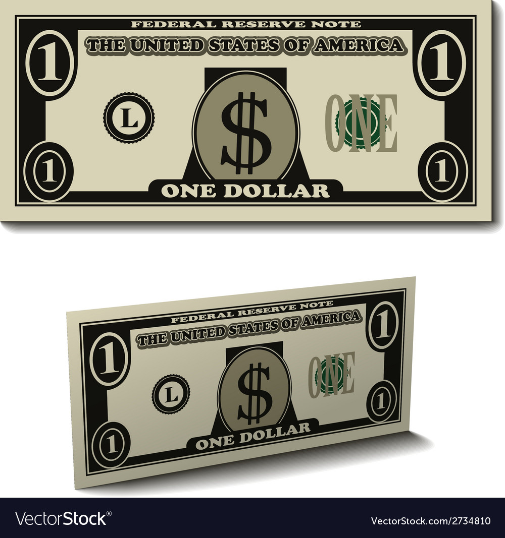 One dollar paper bill banknote vector | Price: 1 Credit (USD $1)