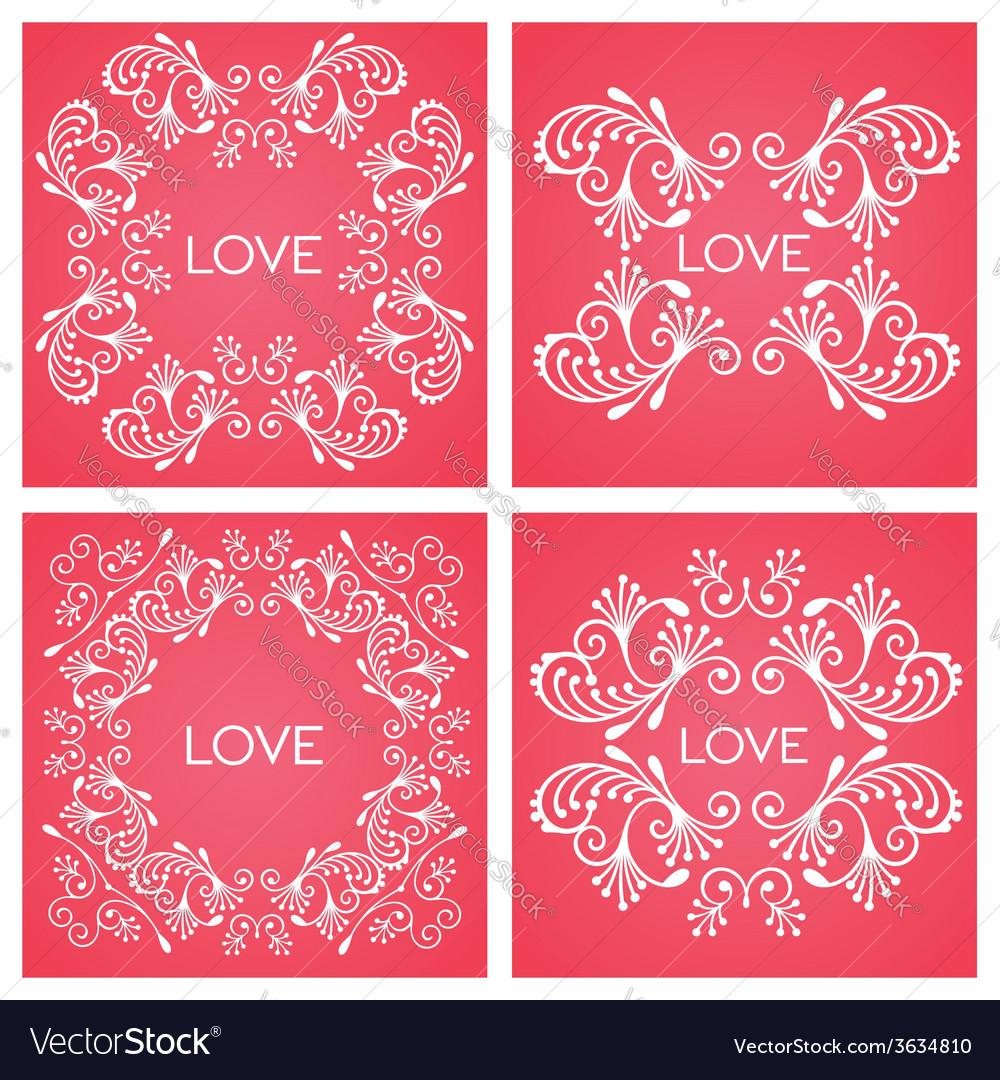 Set floral decorative frame vector | Price: 1 Credit (USD $1)
