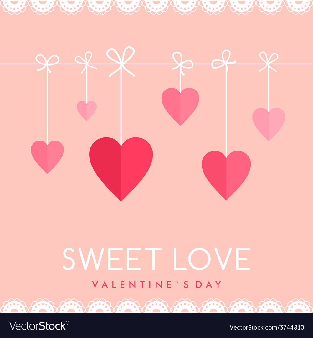 St valentines day greeting card in flat style vector | Price: 1 Credit (USD $1)