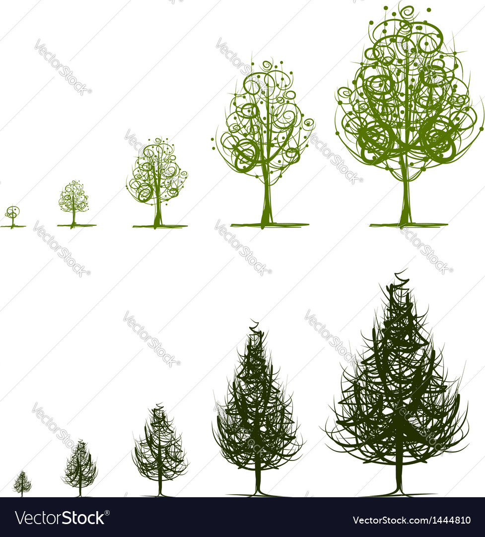 Stages of growing tree for your design vector | Price: 1 Credit (USD $1)