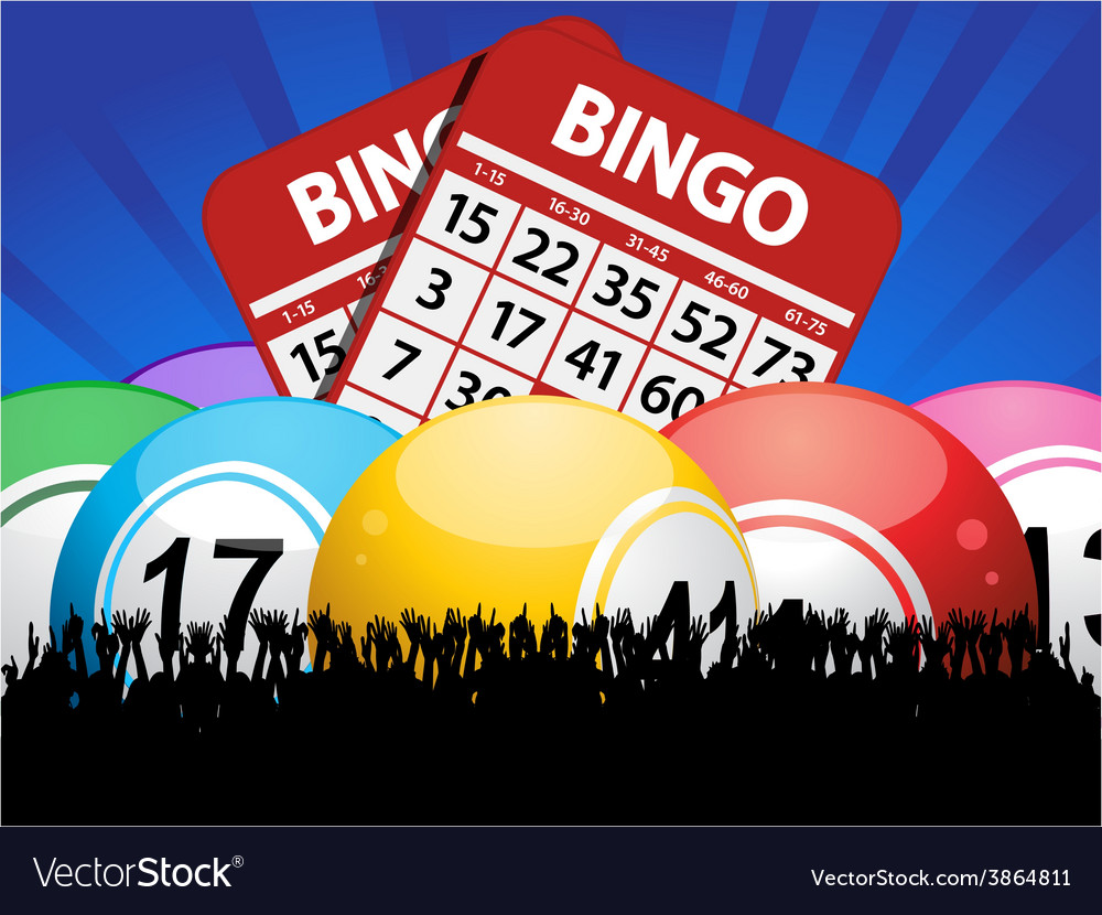 Bingo balls cards and crowd on blue background vector | Price: 1 Credit (USD $1)
