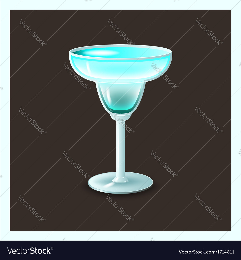 Blue cocktail in glass - vector | Price: 1 Credit (USD $1)