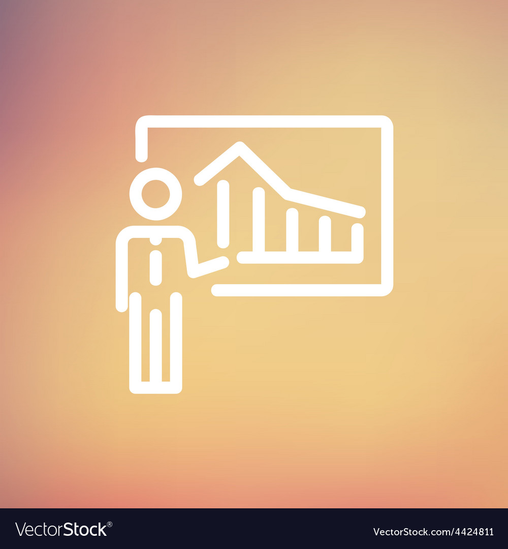 Businessman presenting with his chart thin line vector | Price: 1 Credit (USD $1)