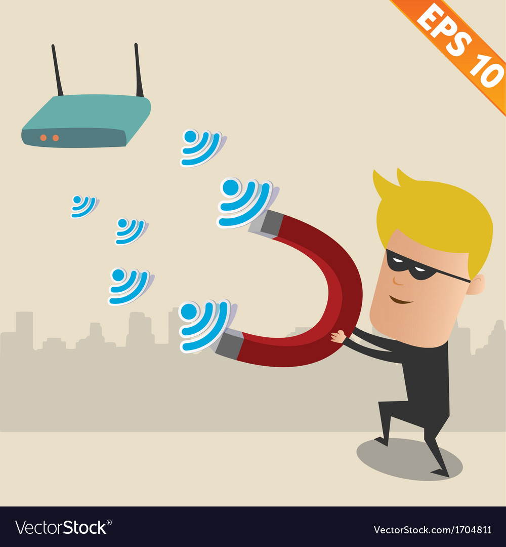 Hacker on wireless network - - eps10 vector | Price: 1 Credit (USD $1)