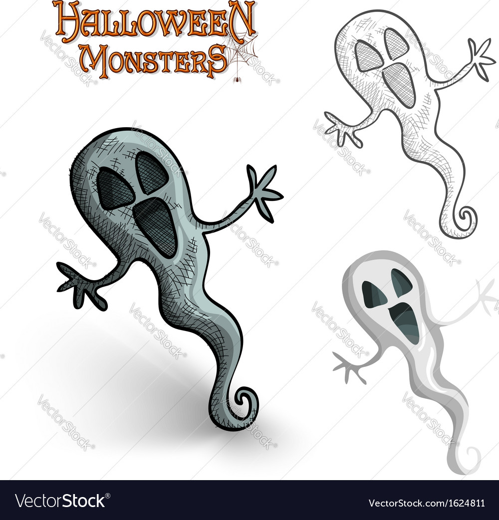 Halloween monsters spooky ghost eps10 file vector | Price: 1 Credit (USD $1)