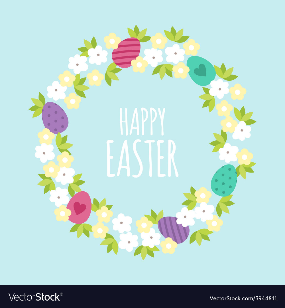 Happy easter greeting card template with flowers vector | Price: 1 Credit (USD $1)