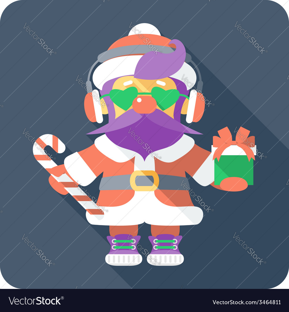 Hipster santa claus standing with gifts vector | Price: 1 Credit (USD $1)