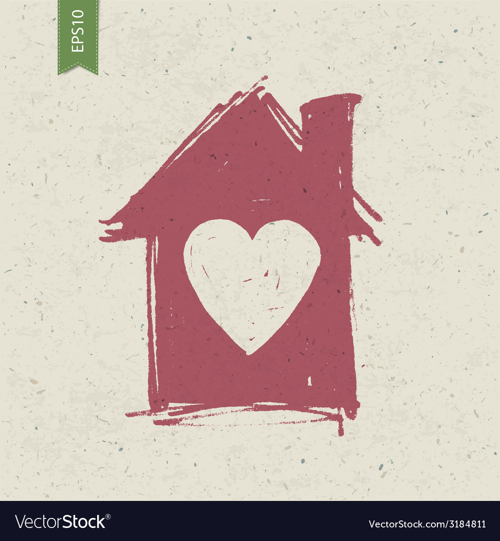 House with heart symbol vector | Price: 1 Credit (USD $1)