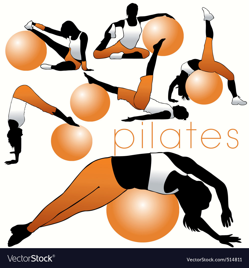 Pilates silhouettes vector | Price: 1 Credit (USD $1)