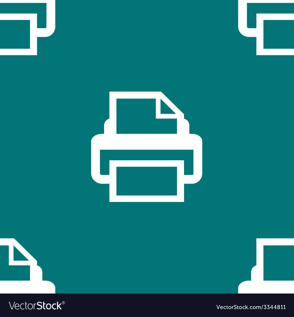 Printer web icon flat design seamless pattern vector | Price: 1 Credit (USD $1)