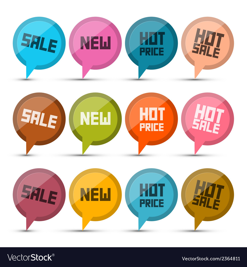 Sale new hot price circle labels - tags set vector | Price: 1 Credit (USD $1)