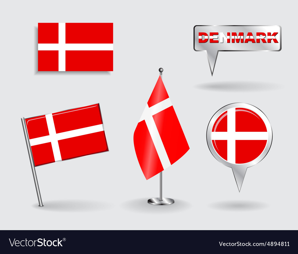 Set of danish pin icon and map pointer flags vector