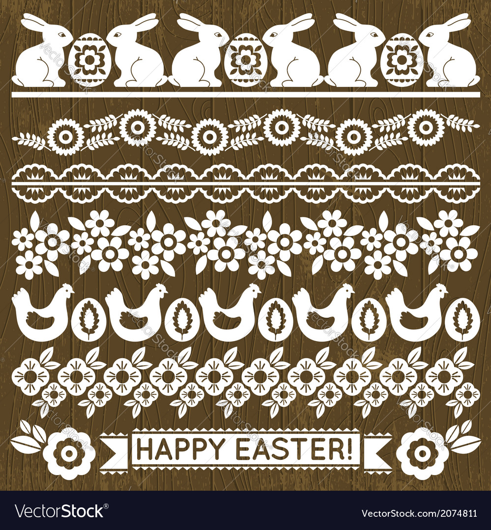 Set of lace paper with flowers and easter eggs vector | Price: 1 Credit (USD $1)