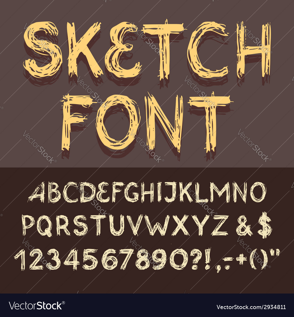 Sketch alphabet set vector | Price: 1 Credit (USD $1)