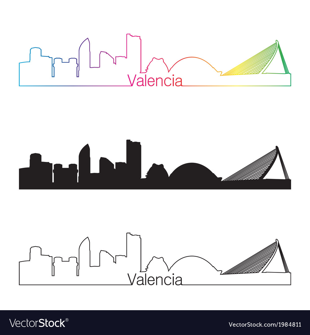 Valencia skyline linear style with rainbow vector | Price: 1 Credit (USD $1)