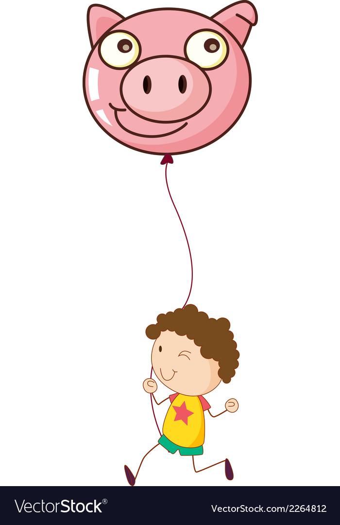 A boy holding a pig balloon vector | Price: 1 Credit (USD $1)