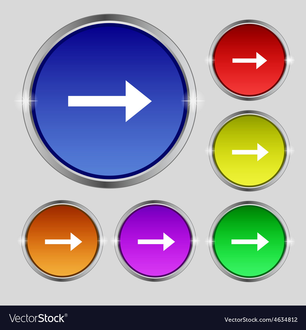 Arrow right next icon sign round symbol on bright vector | Price: 1 Credit (USD $1)