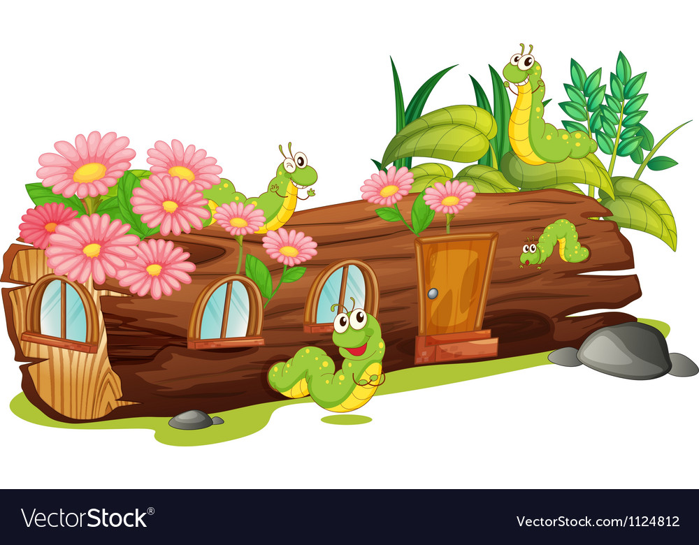 Caterpillars and a wood house vector   Price: 1 Credit (USD $1)