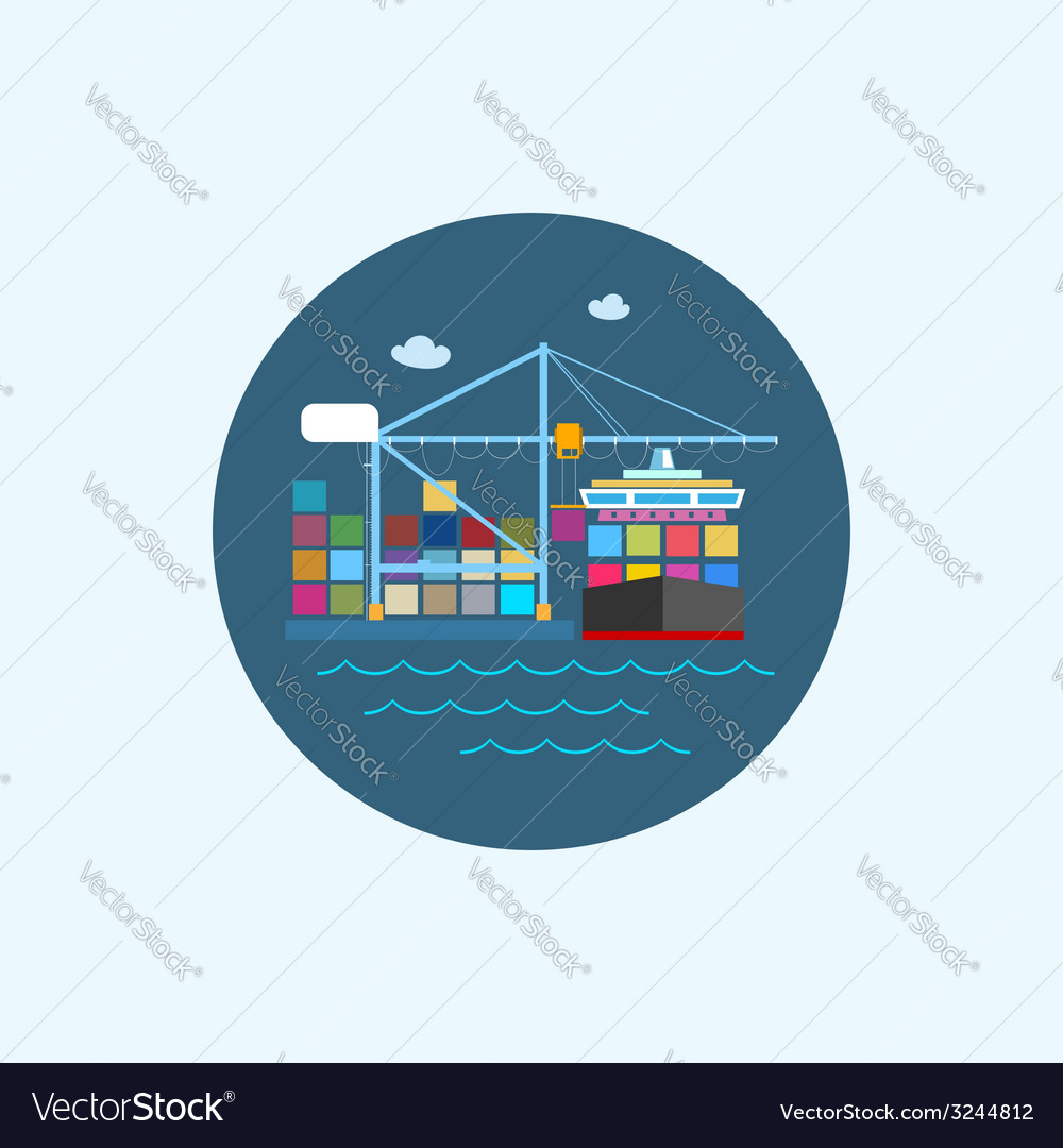 Icon with colored cargo container ship and cargo vector | Price: 1 Credit (USD $1)