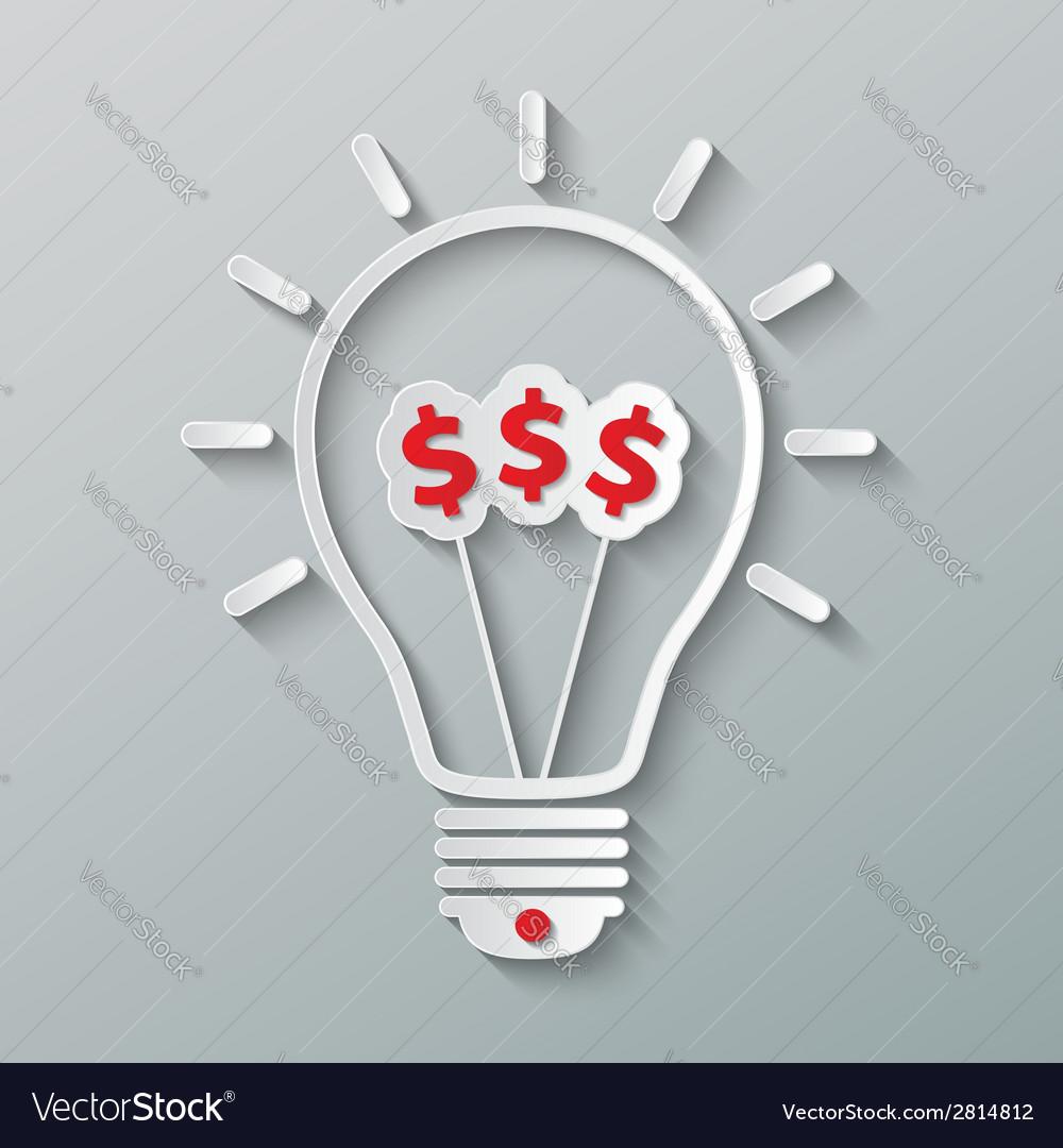 Idea dollar bulb vector   Price: 1 Credit (USD $1)