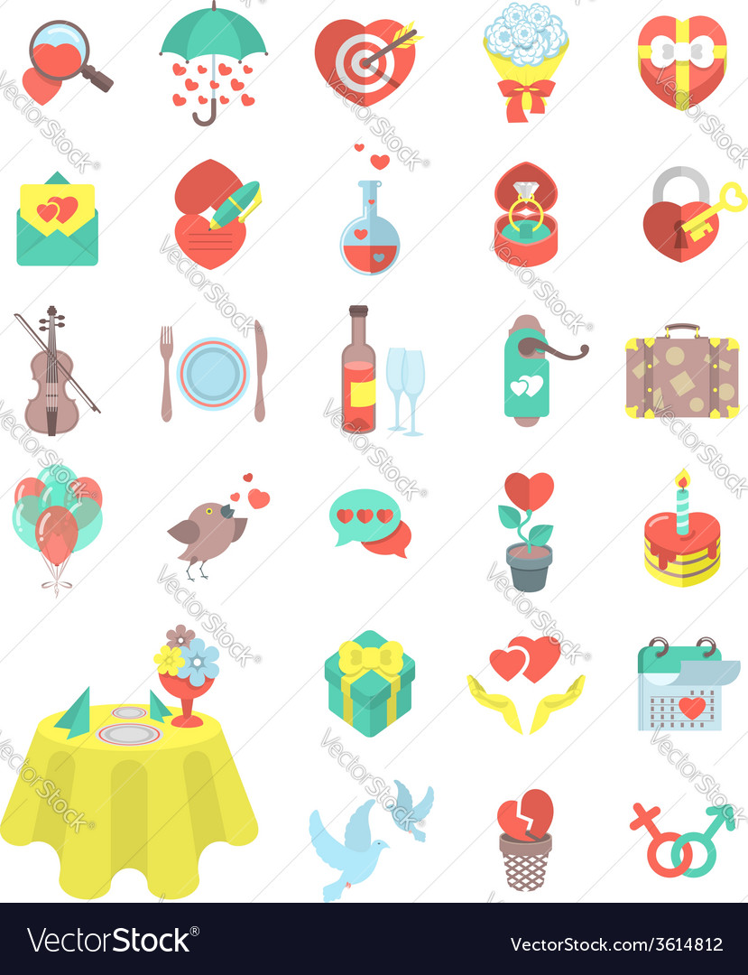 Love and dating flat icons vector | Price: 1 Credit (USD $1)