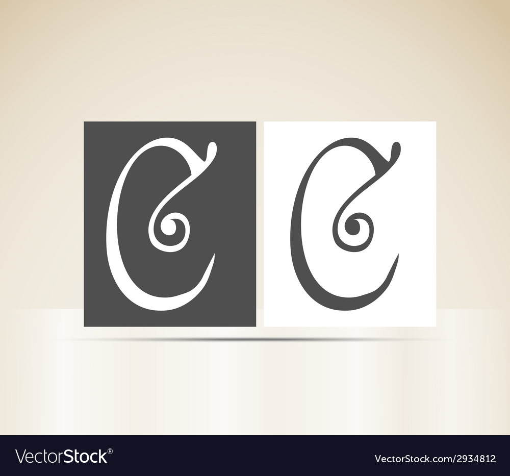 Retro alphabet letter c art deco vintage design vector | Price: 1 Credit (USD $1)