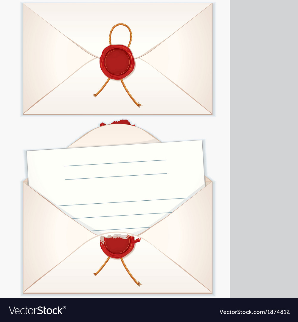 Sealed and opened envelope with blank letter vector | Price: 1 Credit (USD $1)
