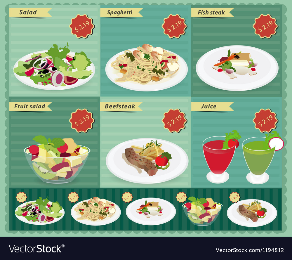 Set of food menu retro style template vector | Price: 3 Credit (USD $3)