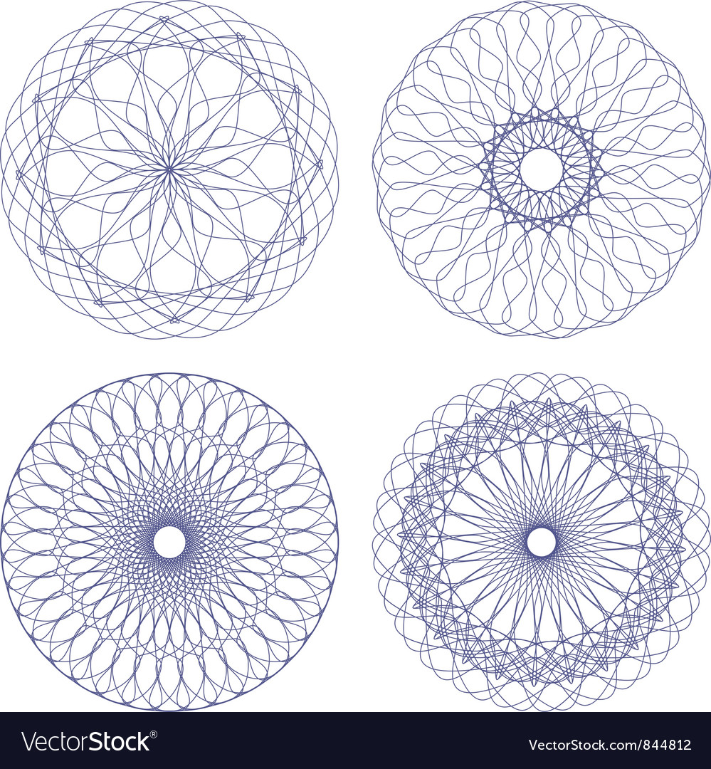 Set of ornament rosettes vector | Price: 1 Credit (USD $1)