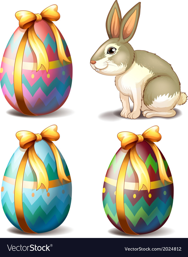 Three colorful eggs and a cute bunny vector | Price: 3 Credit (USD $3)