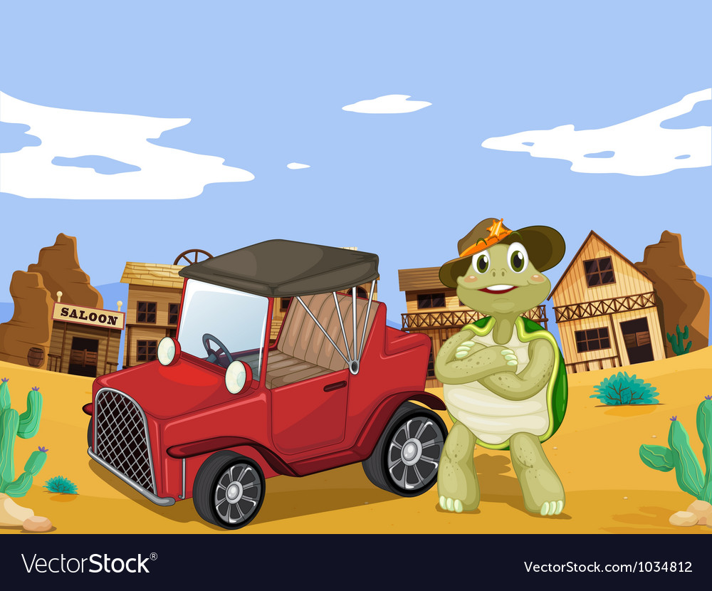 Tortoise and car vector | Price: 1 Credit (USD $1)